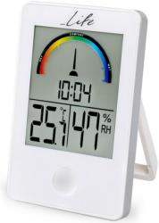 life wes 101 digital indoor thermometer and hygrometer with clock white