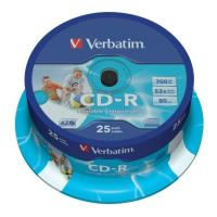 verbatim cd r 80min 700 mb 52x wide printable cakebox 25pcs photo
