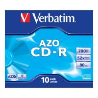 verbatim cd r 80min 700 mb 52x dlp azo jewel case 10pcs photo