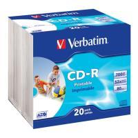 verbatim cd r 700mb 80 min 52x dlp inkjet white full surface printable slim case 20pcs photo