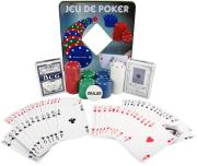 pokerset in metal box with 100 chips photo