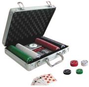 poker alluminium case with 200 chips 2 card decks dices photo