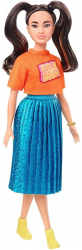 barbie doll fashionistas 145 long brunette pigtails shimmery skirt photo