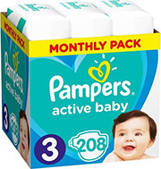 PAMPERS ACTIVE BABY NO3 (6-10KG) 208 TMX MONTHLY PACK