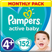 pampers active baby no4 maxi 10 15kg 152 tmx monthly pack photo