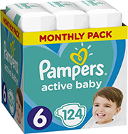 PAMPERS ACTIVE BABY NO6 (XL 13-18KG) 124 TMX MONTHLY PACK