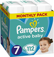 PAMPERS ACTIVE BABY NO7 (15+KG) 112TMX MONTHLY PACK