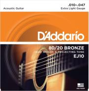 xordes akoystikis kitharas d addario ej10 extra light 10 47 bronze photo