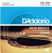 xordes akoystikis kitharas d addario ez940 12string guitar light 10 47 85 15 bronze bright tone photo