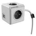 allocacoc powercube extended usb incl 15m cable grey type e extra photo 1
