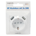 logilink pa0162 2 port usb wall outlet with 1x safety socket extra photo 6