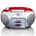 lenco scd 420 portable stereo fm radio with cd player and cassette red extra photo 1