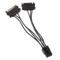 kolink adapter 2x 15 pin sata to 1x 6 pin pcie adapter cable black extra photo 1