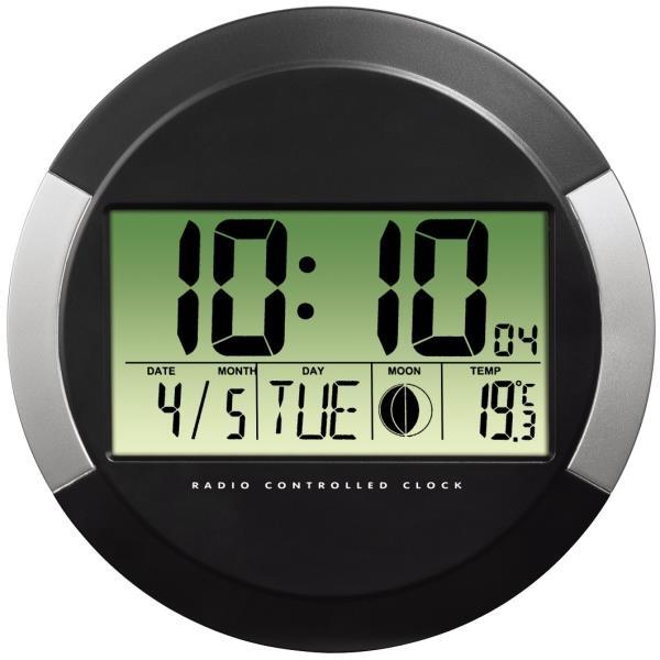 Hama 104936 pp 245 dcf radio wall clock black for Orologio digitale da parete ikea