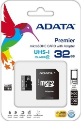 ADATA PREMIER 32GB MICRO SDHC UHS-I CLASS 10 RETAIL WITH ADAPTER