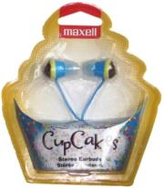 maxell cupcakes stereo earbuds blue photo
