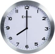 konig kn cl10n aluminium wall clock analogue 30cm silver white photo