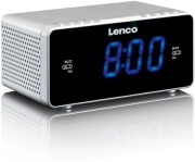 lenco cr 520 stereo clock radio with 12 blue display and usb charger sliver photo