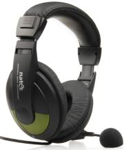 natec nsl 0304 grizzly headphones with microphone black green photo