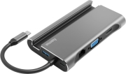 hama 135764 7 in 1 usb c docking station for 3x usb a 31 hdmi vga lan usb c pd grey