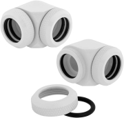 corsair hydro x fitting hard xf 90 angled glossy white 2 pack 14mm od compression photo