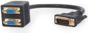 cablexpert a dvi 2vga 01 passive dvi i male to dual vga female splitter cable 03 m black photo