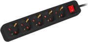 lanberg power strip 5 sockets schuko with circuit breaker copper cable 3m black photo