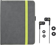 trust 19113 premium folio stand in ear headphone for ipad grey lime photo