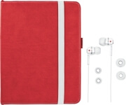 trust 19107 premium folio stand in ear headphone for ipad red white photo