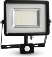 v tac 5717 50w led sensor floodlight black grey body smd white 6000k photo