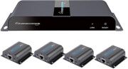 techly hl41ty hdmi 1x4 extender splitter over cat6 6a 7 50m with ir pass back photo