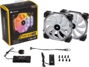 corsair hd140 rgb led high performance 140mm pwm fan twin pack with controller photo