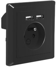 lanberg ac wall socket with 2 port usb charger french socket black photo