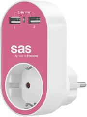 sas 100 15 128 power adapter with 1x schuko and 2x usb pink photo