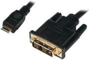 logilink chm001 mini hdmi to dvi d cable m m 05m black photo