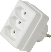 logilink lps219 power socket adapter with 3 euro sockets white photo