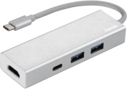 hama 135756 usb 3 port 31 type c hub 1 3 with 2x usb a usb c hdmi bus powered silver photo