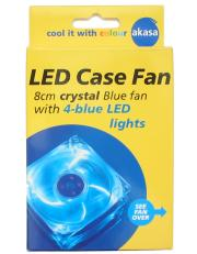 akasa ak 170cb 4bls 80mm crystal blue fan with 4 blue leds photo