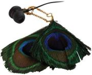 SATZUMA FEATHER EARPHONES PEACOCK