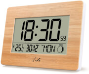 life bamboo clock xl digital alarm clock with lcd display and indoor thermometer photo