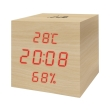 life wes 105 wooden digital indoor thermometer hygrometer with clock alarm and calendar photo