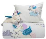 set koyberli loytrino dream line embroidery das home 6463 krem roz unicorn 110x150cm photo
