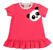 brefiko forema keen organic wwf baby dress panda kokkino 9 12 minon photo
