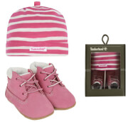 set brefiko mpotaki skoyfaki timberland crib bootie with hat tb09680r6611 roz pink photo