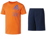 set reebok sport boy s tee and shorts set portokali mple skoyro 164 cm photo