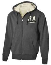 zaketa russell athletic zip through sherpa lined hoody anthraki m photo