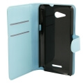 flip book case for sony xperia e4 foldable light blue extra photo 1
