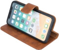 forever classic leather book flip case for apple iphone x iphone xs brown extra photo 1