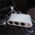 hoco lcd one pull three car charger z13 silver extra photo 3