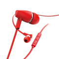 hama 184010 joy headphones in ear microphone flat ribbon cable red extra photo 2